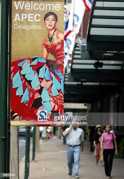 A banner welcoming APEC delegates is displayed in front of a department store in central Bangkok 16 October 2003 Leaders from the 21member...