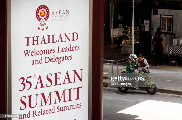 A banner welcoming the Association of Southeast Asian Nations leaders ahead of the 35th ASEAN Summit in Bangkok Thailand