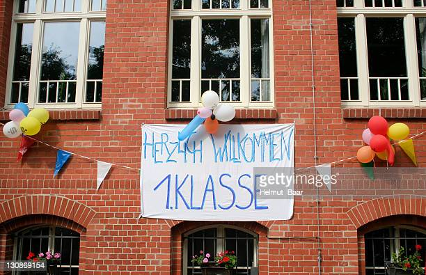 Banner, Welome First Grade Students hanging outside a school in Berlin, Germany