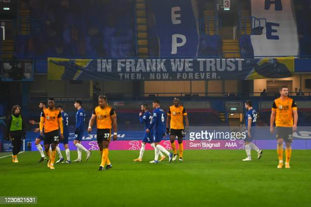 Banner with a message to Frank Lampard is seen during the Premier League match between Chelsea and Wolverhampton Wanderers at Stamford Bridge on...