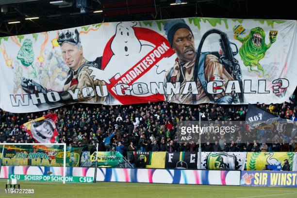 Banner with ADO Den Haag trainer / coach Alan Pardew and ADO Den Haag assistant trainer Chris Powell during the Dutch Eredivisie match between ADO...