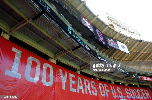Banner with inscription '100 years of US soccer' stands in the stadium during the final training of US national soccer team in Robert F Kennedy...
