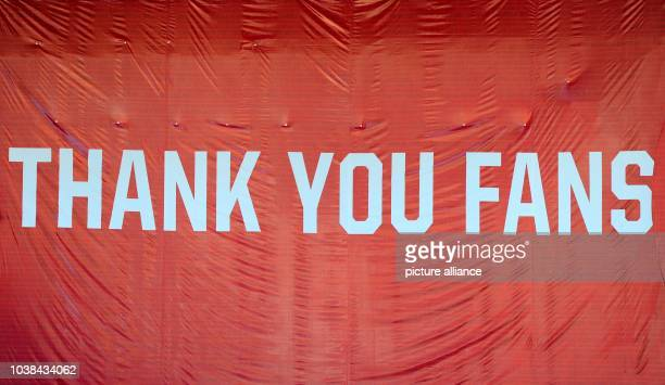 Banner with inscription 'Thank you fans' stands in the stadium during the final training of US national soccer team in Robert F Kennedy Memorial...