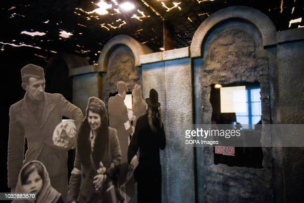 A banner with Jewish inhabitants seen during the exhibition Exhibition at Oskar Schindler's Enamel Factory museum it is primarily a story about...