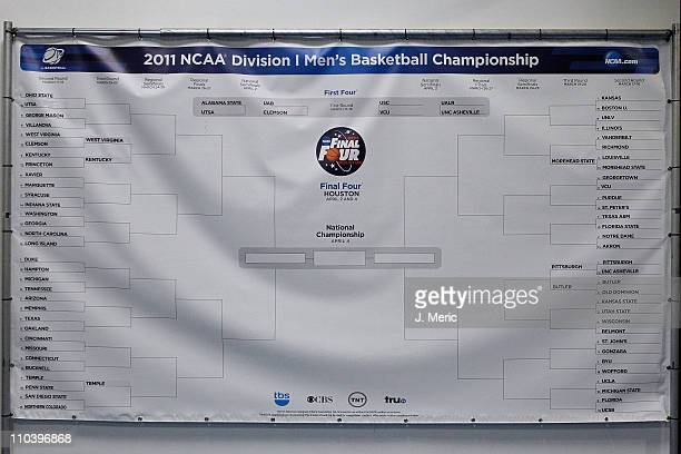 A banner with the Men's NCAA Basketball Tournament BRacket is seen during the second round of the 2011 NCAA men's basketball tournament at St Pete...
