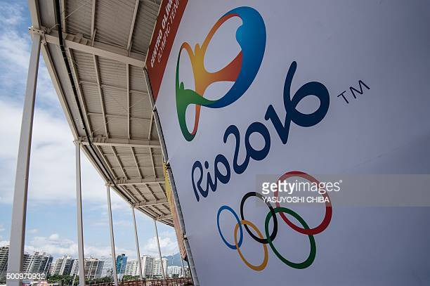 A banner with the Olympic logo for the Rio 2016 Olympic Games seen at the Olympic Tennis Centre of the Olympic Park in Rio de Janeiro Brazil on...