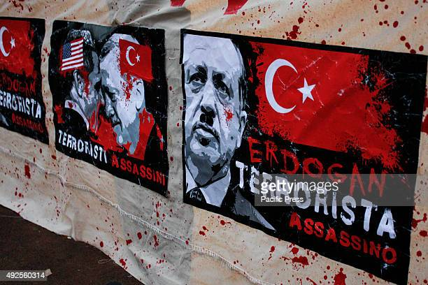 A banner with the phrase Erdogan terrorist and murderer during a protest against the Turkish President Erdogan and the attack in Turkey with 87 dead...