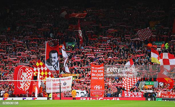 Banners and flags are waved on The Kop prior to the UEFA Europa League semi final second leg match between Liverpool and Villarreal CF at Anfield on...