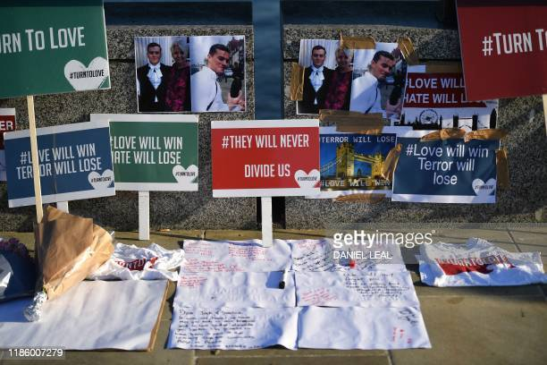 Banners and pictures are placed on London Bridge in memory of the victims of last weeks attack in central London on December 12 2019 Tributes were...