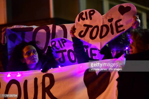 Banners and signs are held up in Romford town centre as part of a protest of the fatal stabbing of Jodie Chesney who was playing music with friends...
