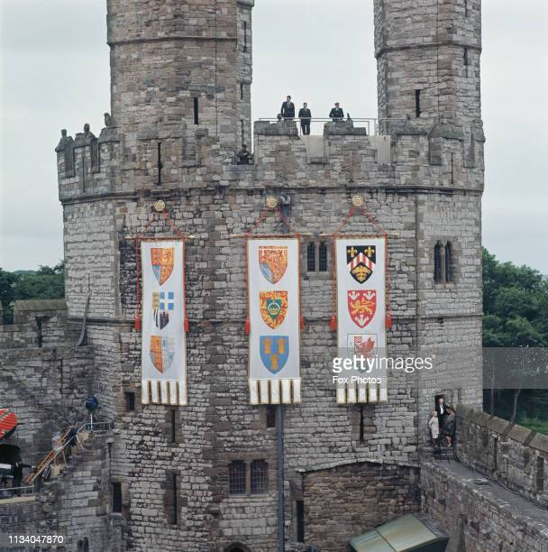 Banners and standards of the Prince of Wales hung at Caernarfon Castle for the investiture of Prince Charles as Prince of Wales 1st July 1969