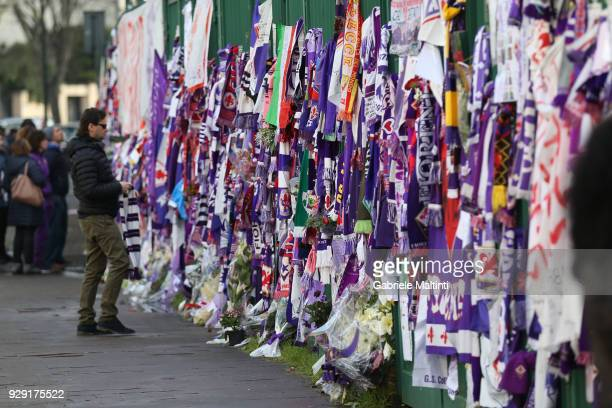 Banners are erected during the funeral of Davide Astori on March 8 2018 in Florence Italy The Fiorentina captain and Italy international Davide...