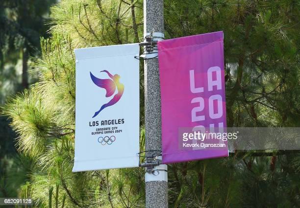 Banners are hung around the campus of University of California at Los Angeles as OC Evaluation Commission tours the proposed Athletes Village LA 2024...