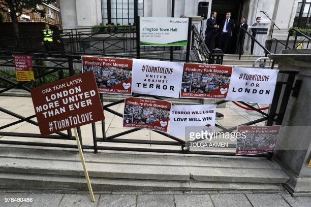 Banners are left on the steps of Islington Town Hall following a commemoration on the anniversary of the Finsbury park attack in London on June 19...