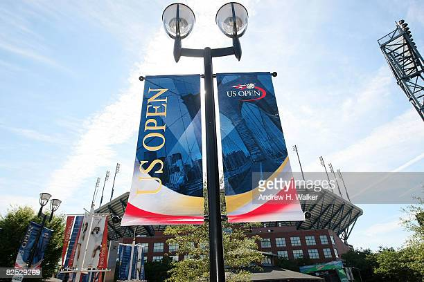 Banners are on display at the 2008 Arthur Ashe Kids Day at the USTA Billie Jean King National Tennis Center on August 23 2008 in the Flushing...