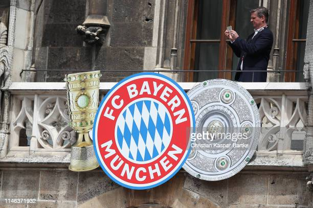 Banners are seen ahead of an event to celebrate FC Bayern Muenchen winning the Bundesliga at Marienplatz on May 26 2019 in Munich Germany