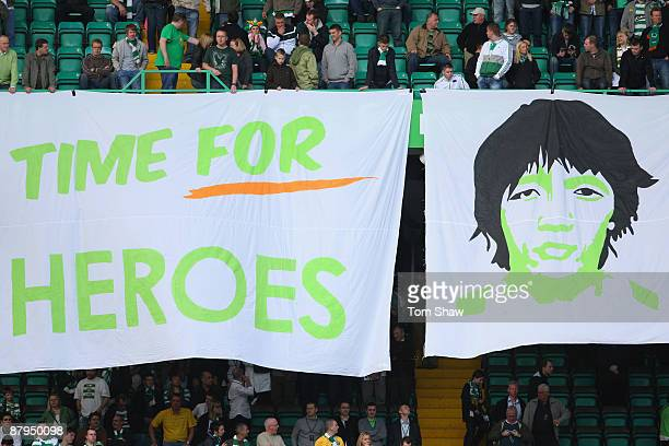 Banners are unfolded for Shunsuke Nakamura of Celtic during the Scottish Premier League match between Celtic and Hearts at Parkhead on May 24 2009 in...