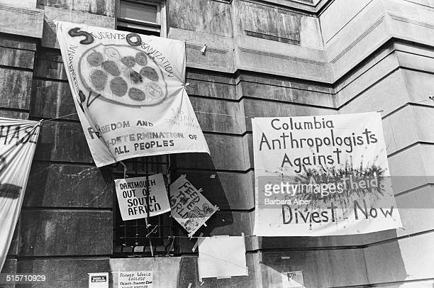 Banners at anti-apartheid protest by students at the entrance to the Hamilton Hall building of Columbia University, New York City, 4th April 1984....
