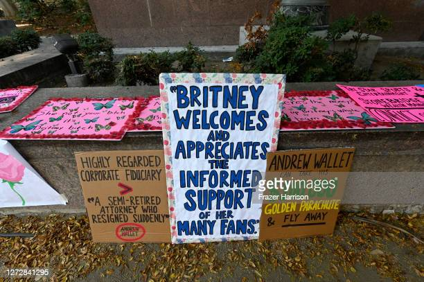 Banners at the Britney Spears #FreeBritney Protest outside Los Angeles Courthouse at Stanley Mosk Courthouse on September 16 2020 in Los Angeles...