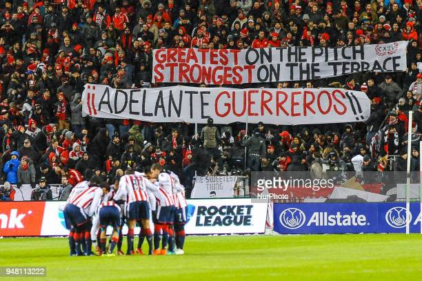 Banners during the 2018 CONCACAF Champions League Final match between Toronto FC and CD Chivas Guadalajara at BMO Field in Toronto Canada on April 17...
