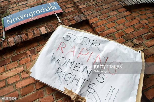 Banners during the Black Monday a nationwide women's proabortion protest on October 03 2016 at Nowogrodzka Street in Warsaw Poland The protest action...