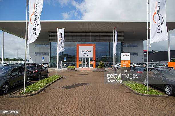 Banners fly outside a LeasePlan Corp used car leasing and contract automobile hire showroom in Breukelen Netherlands on Monday July 27 2015...