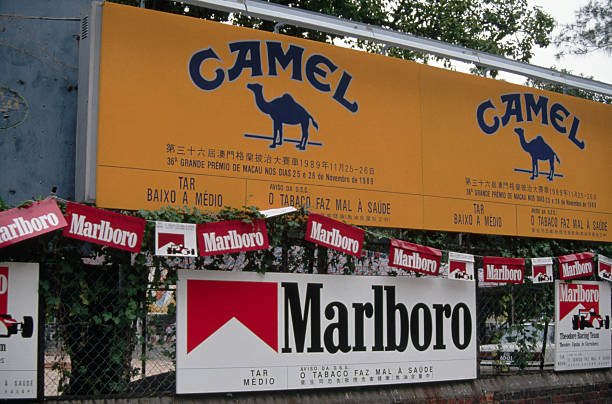 Banners for Camel and Marlboro Cigarettes