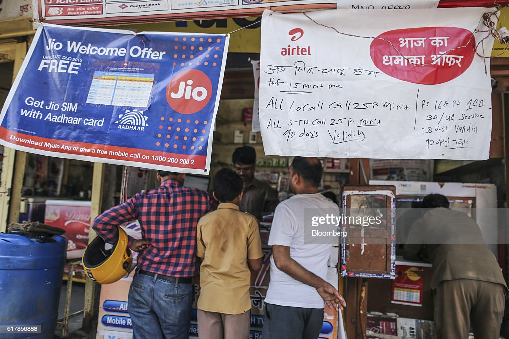 Banners for Reliance Jio, the mobile network of Reliance Industries