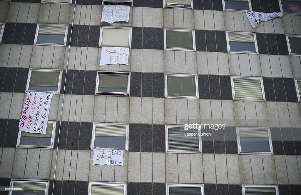 Banners hang from La Paz hospital on November 21, 2012 in Madrid, Spain. Doctors and nurses in the Spanish capital are preparing for a four day strike to protest against the privatisation of some parts of Spain's national health service.