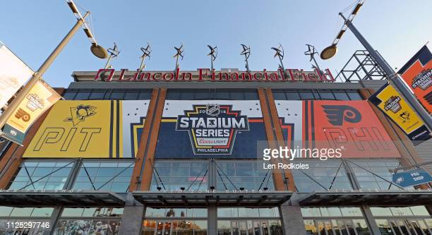 Banners hung outside the the home of the Philadelphia Eagles in preparation for the 2019 Coors Light NHL Stadium Series between the Philadelphia...