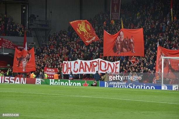 Banners In The Crowd of Liverpool during the UEFA Champions League group E match between Liverpool FC and Sevilla FC at Anfield on September 13 2017...