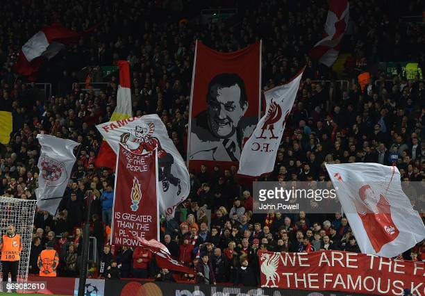 Banners in the crowd of Liverpool during the UEFA Champions League group E match between Liverpool FC and NK Maribor at Anfield on November 1 2017 in...