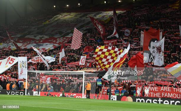 Banners in the liverpool crowd during the UEFA Champions League Quarter Final Leg One match between Liverpool and Manchester City at Anfield on April...