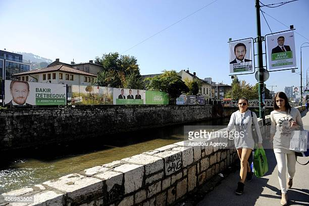 Banners of a presidential and parliamentary candidate are seen during the electorial campaigns in Sarajevo Bosnia and Herzegovina on October 9 2014...