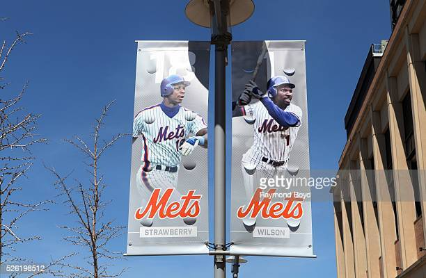 Banners of former New York Mets players Darryl Strawberry and Mookie Wilson hangs outside Citi Field home of the New York Mets baseball team in...