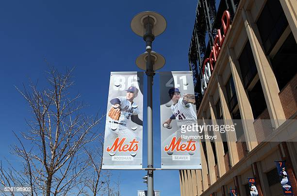 Banners of former New York Mets players Jerry Koosman and Tom Seaver hangs outside Citi Field, home of the New York Mets baseball team in Flushing,...
