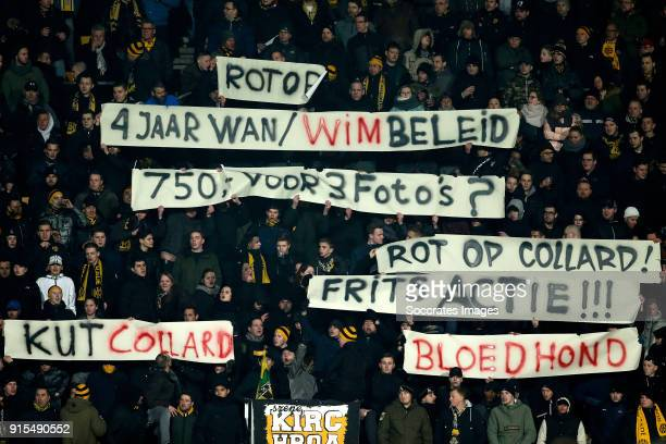 banners of supporters of Roda JC during the Dutch Eredivisie match between Roda JC v Ajax at the Parkstad Limburg Stadium on February 7 2018 in...