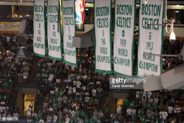 Banners of the Boston Celtics championships hang during Game Two of the 2008 NBA Finals at TD Banknorth Garden on June 8 2008 in Boston Massachusetts...