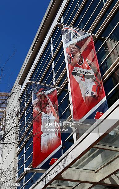 Banners of Washington Mystics basketball player Emma Meesseman and Washington Wizards basketball player Bradley Beal sits outside the Verizon Center...