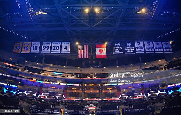 Banners on display during the national anthems prior to the game between the Los Angeles Kings and the Arizona Coyotes on September 26 2016 at...