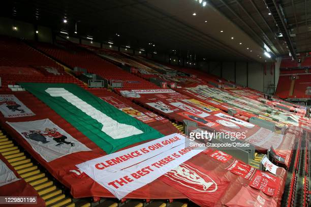Banners on The Kop in memory of former Liverpool goalkeeper Ray Clemence during the UEFA Champions League Group D stage match between Liverpool FC...