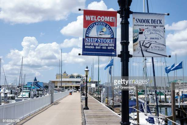 Banners on the pier at Regatta Pointe Marina