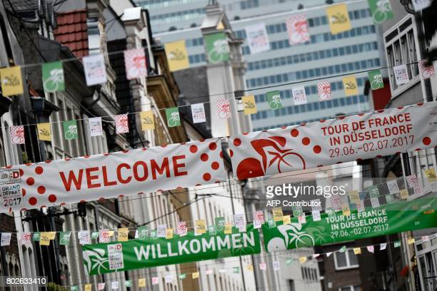 Banners reading in French 'The 2017 Tour de France's Great Departure' are seen in Dusseldorf Germany on June 28 three days before the start of the...