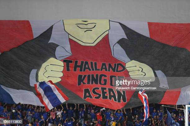 Banners stated Thailand King of ASEAN is seen during the 2018 AFF Suzuki Cup Group B match between Thailand and Singapore at Rajamangala National...