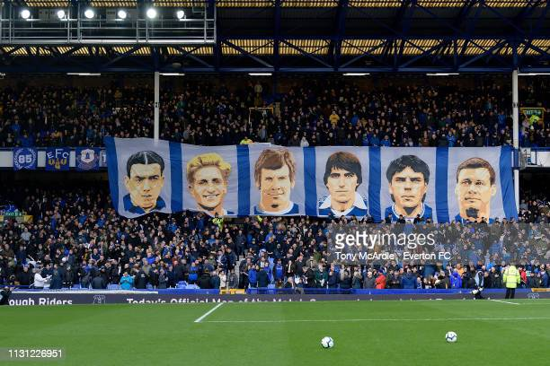 Banners to commemorate Everton number 9's hang at Goodison Park before the Premier League match between Everton and Chelsea at Goodison Park on March...