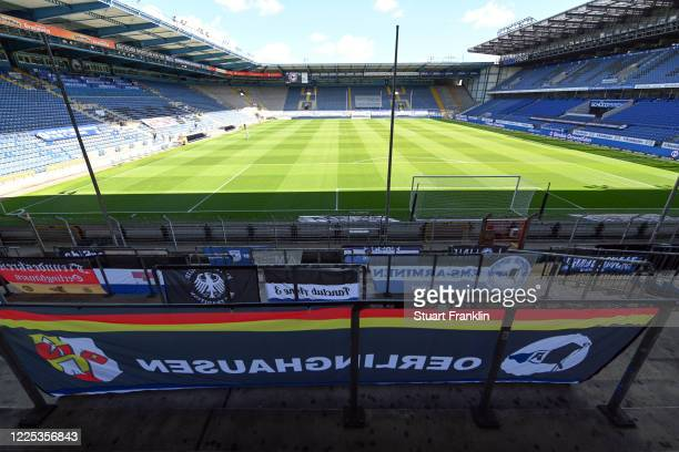 Banners to support Bielefeld are seen in the stand prior to the Second Bundesliga match between DSC Arminia Bielefeld and VfL Osnabrück at Schueco...