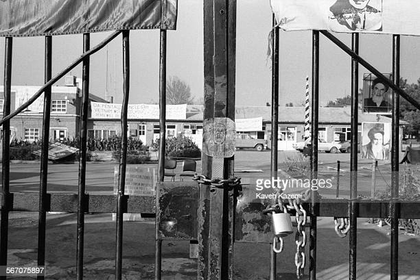 Banners with photos of Ayatollah Khomein are seen inside the American Embassy compound occupied by students following the Imam Khomeini's line on...