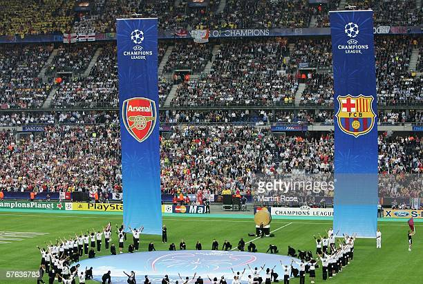 Banners with the club emblems of both teams rise from the ground during the opening ceremony to the UEFA Champions League Final between Arsenal and...