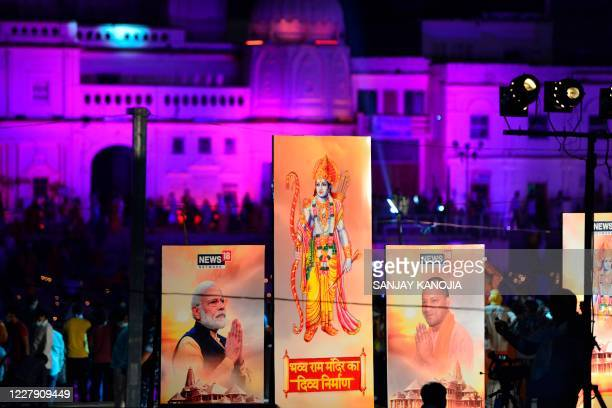 Banners with the images of Indian Prime Minister Narendra Modi Lord Ram and Chief Minister of Uttar Pradesh Yogi Adityanath are seen along the banks...