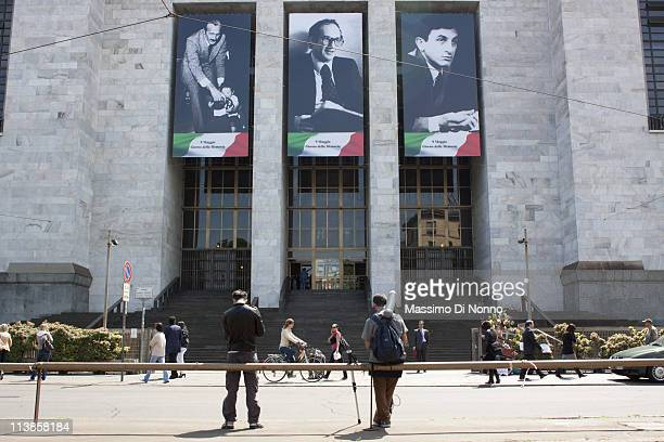 Banners with the portraits of judges Emilio Alessandrini Guido Galli and Giorgio Ambrosoli who were assassinated during the 1970s hang from front the...